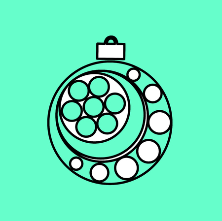 industry trends: Simple icon with the image of a black contour Christmas ball on a blue background. Fashion illustration in a flat style. Illustration