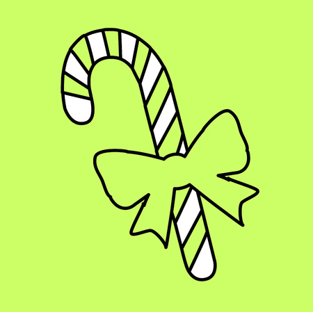 Simple icon with the image of the black outline of caramel candy on a green background. Fashion illustration in a flat style. Ilustrace