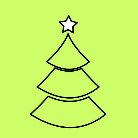 Simple black icon with the image of the contour of the Christmas tree on the green background. Fashion illustration in a flat style.