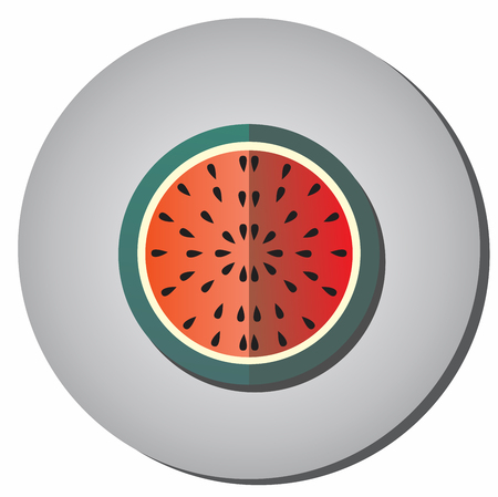 Icon half ripe red watermelon with seeds in a flat style on a gray background. Illustration of healthy food