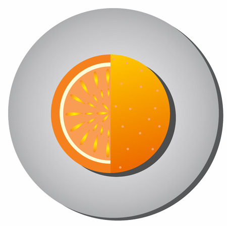 Icon of ripe juicy fruit, oranges, grapefruit, sectional-style flat on a gray background.Illustration of fruit eating healthy