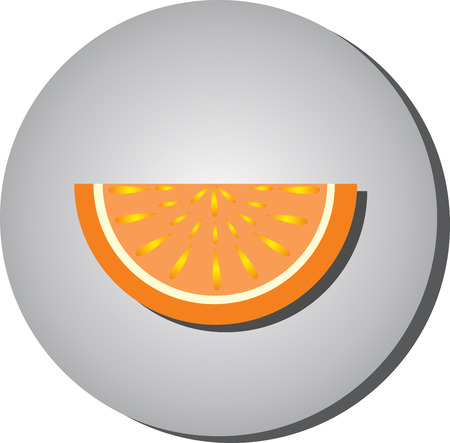 Icon slices of ripe juicy fruit, oranges, grapefruit style flat on a gray background.Illustration of fruit eating healthy