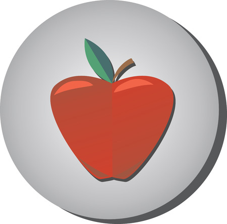 Icon of ripe juicy red apple in style flat on a gray background. Illustration of fruit eating healthy Ilustração