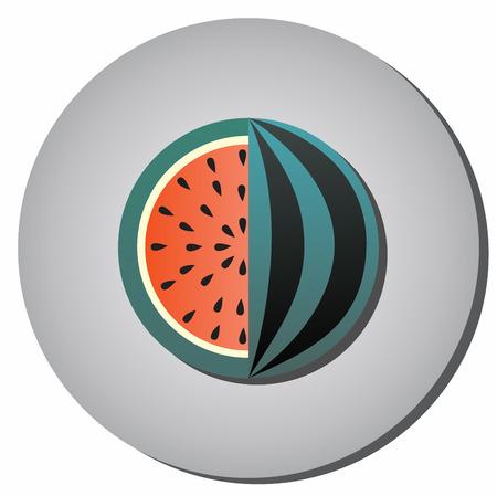 Icono rayado sandía con semillas en un corte sobre un fondo gris. Ilustración de alimentos saludables y estilo plano de belleza. Foto de archivo - 69146338
