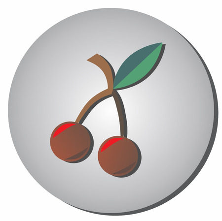 Icon cherries style flat on a gray background. Illustration of healthy food and beauty. Ilustração