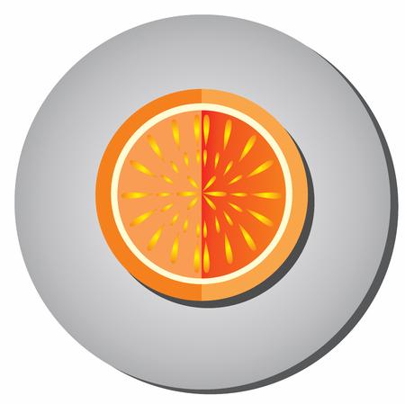 Las mitades del icono de la fruta jugosa madura, naranjas, pomelo plano en un fondo gris. Ejemplo de la fruta que come sano Foto de archivo - 69146353