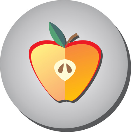 Icon half of ripe juicy red apple in style flat on a gray background.Illustration of fruit eating healthy