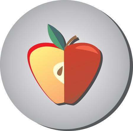 Icono de manzana roja jugosa madura en un corte en el estilo de piso sobre un fondo gris. Ilustración de fruta comiendo saludable Foto de archivo - 69146355