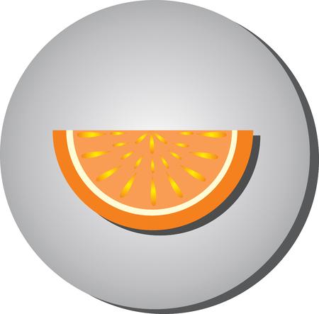 Rebanadas icono de jugosa fruta madura, naranjas, pomelo estilo planas en un background.illustration gris de la fruta alimentación saludable Foto de archivo - 69146356