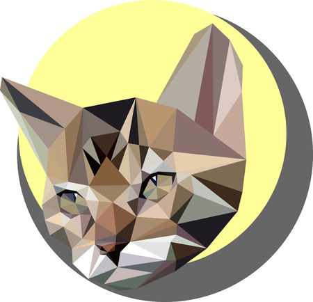 Cat in the style of the polygon. Fashion illustration of the trend in style on a yellow background. Portrait of a pet kitten