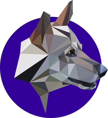 Mongrel, a wolf, a dog in a polygon style. Fashion illustration of the trend in style on blue background. Portrait of a dangerous predator