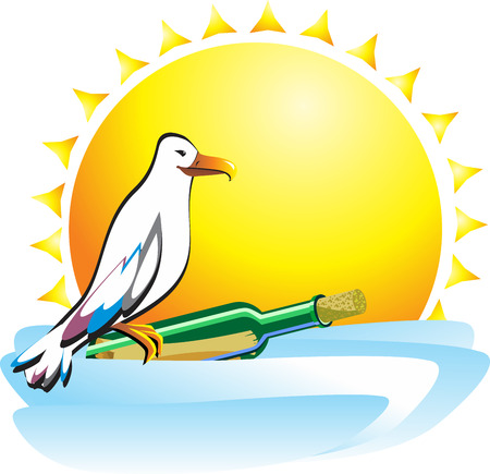 Seagull sitting on a bottle with a message floating over the ocean waves in the background of the sun. Bright pretty icon