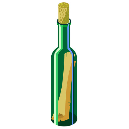 Green bottle with a message on a white background. Contrasting beautiful illustration
