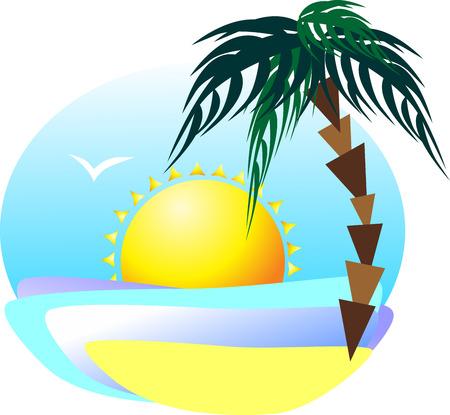 cheerfulness: Morning coast in the summer season. The bright sun illuminates the palm tree, sea and sand. In the sky the seagull soars Illustration