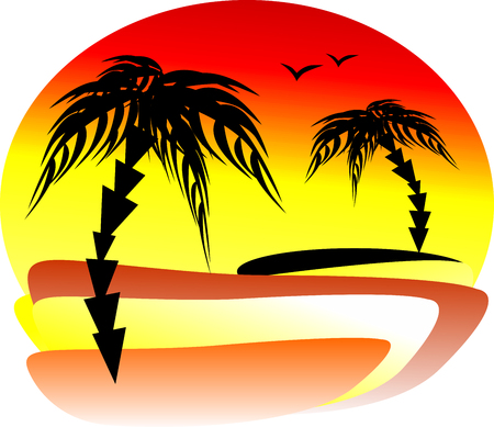 The magnificent sunset at the seaside with two palm trees on different banks. Silhouettes of seagulls on a summer sky Illustration