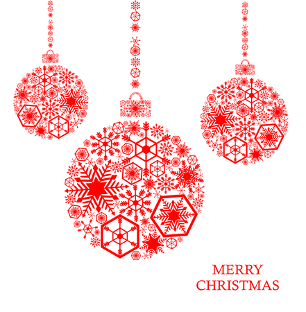 Red christmas balls with snowflakes on a white background. Holiday card