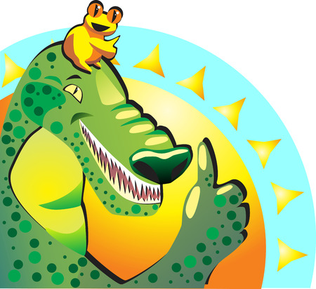 approval icon: Like. Joyful happy frog and crocodile show thumbs up. They approve vacationon the sea sunny resort.
