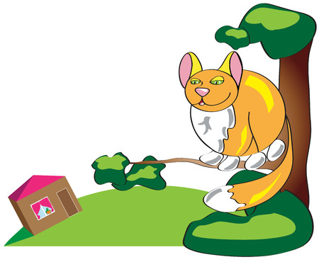 Auburn simple funny cat sitting high in a tree and looking down at his home. Illustrationin a primitive style.