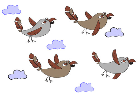 sparrows: A flock of funny birds - sparrows flying in the clouds. Simple childrens illustration with ornament ellementamion a white background.