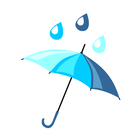 bad weather: Beautiful blue umbrella in a flat style. On it are falling raindrops. Vector icon about the weather in spring and autumn Illustration