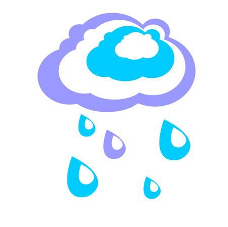 Rain cloud. Simple graphics in flat style. Sign of spring and autumn weather Illustration