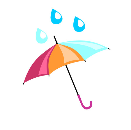 rain drop: Multicolored umbrella on which drip a drop. Beautiful accessory from rain for adults and children.