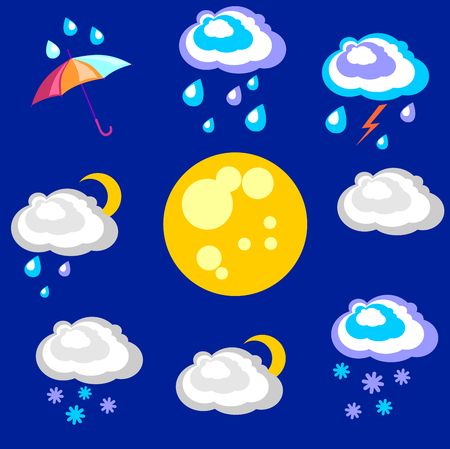 precipitación: Weather forecast. Beautiful and simple graphics on precipitation and temperature in different seasons during the night.