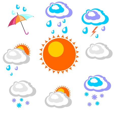Weather forecast. Beautiful and simple graphics on precipitation and temperature in different seasons in the daytime on a white background. Ilustrace