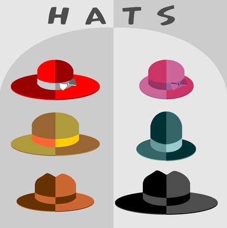 A set of hats to the mod flat style. Heads of different people and different professions. Vector illustration on a gray background.