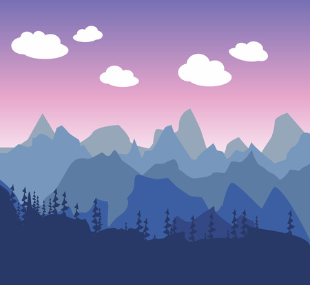 Mountain morning or evening landscape in a simple style flat. Silhouettes of trees and forestsagainst the background of pink and purple cloudy sky. Walk to the tourist. Illustration