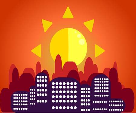 Morning cityscape in the sunlight in the flat style.A striking contrast between the silhouettes of houses and dawn.