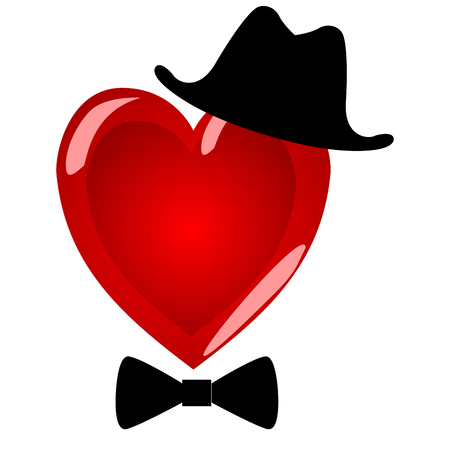 Mr heart. Character gentleman in a beautiful hat with a bow tie.The symbol of Valentine's Day on a white background.
