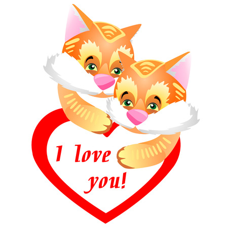 Funny and cute couple of furry ginger kittens.Greeting Card Valentines Day with a red heart and a declaration of love.