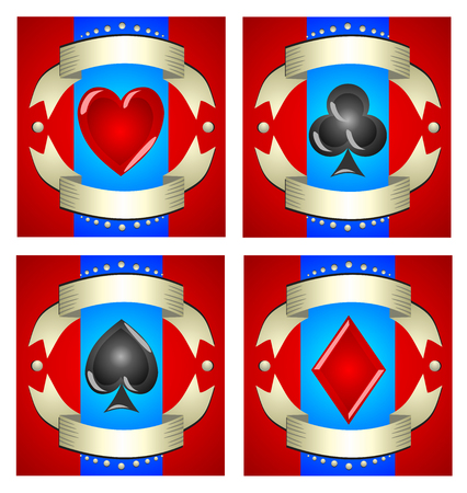 machines: A beautiful illustration of playing cards for casinos, slot machines and magic tricks. Advertising games with its attributes. Set of four symbols hearts, spades, diamonds, clubs with a red background