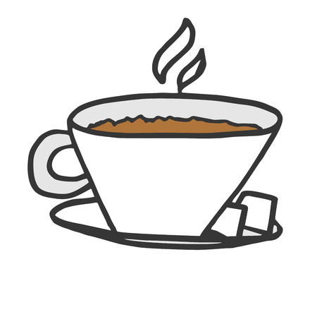 A cup of hot cappuccino with two pieces of sugar on a silver platter. A simple beautiful illustration of a morning coffee.
