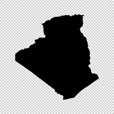 Mappa vettoriale Algeria. Illustrazione vettoriale isolato Nero su sfondo bianco. EPS 10 Illustrazione. Vettoriali