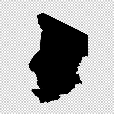 Vector map Chad. Isolated vector Illustration. Black on White background. EPS 10 Illustration.