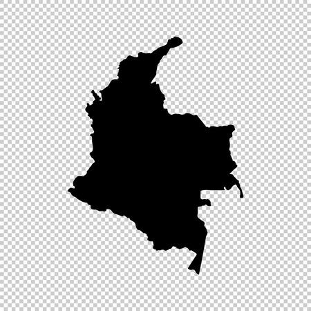Carte de vecteur Colombie. Illustration vectorielle isolé Noir sur fond blanc. EPS 10 Illustration.