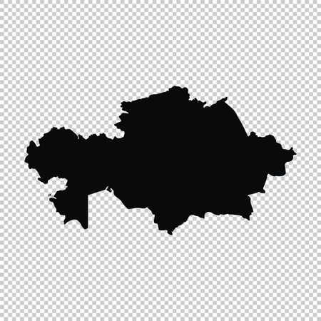 Vector map Kazakhstan. Isolated vector Illustration. Black on White background. EPS 10 Illustration. Vettoriali