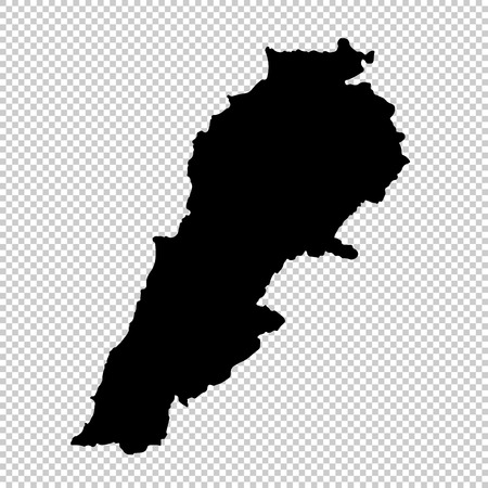 Vector map Lebanon. Isolated vector Illustration. Black on White background. EPS 10 Illustration. Vectores