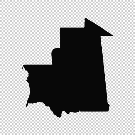 Vector map Mauritania. Isolated vector Illustration. Black on White background. EPS 10 Illustration. Vettoriali
