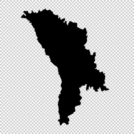 Vector map Moldova. Isolated vector Illustration. Black on White background. EPS 10 Illustration.  Vectores