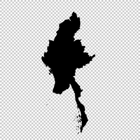 Vector map Myanmar. Isolated vector Illustration. Black on White background. EPS 10 Illustration.