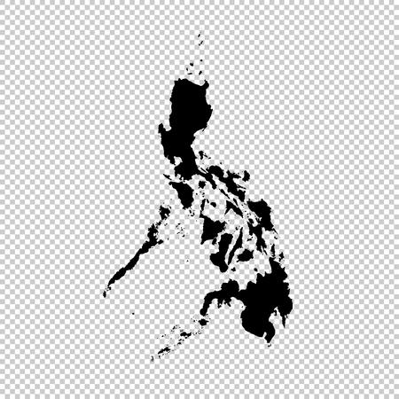 Vector map Philippines. Isolated vector Illustration. Black on White background. EPS 10 Illustration. Vettoriali