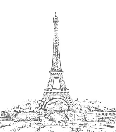 Eiffel Tower vector sketch. Hand drawn vector illustration.