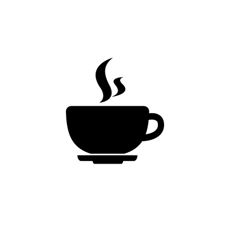 Hot coffee rounded cup on a plate from side view. Иллюстрация