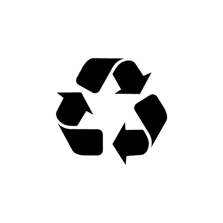Triangular arrows sign for recycle icon. Illustration