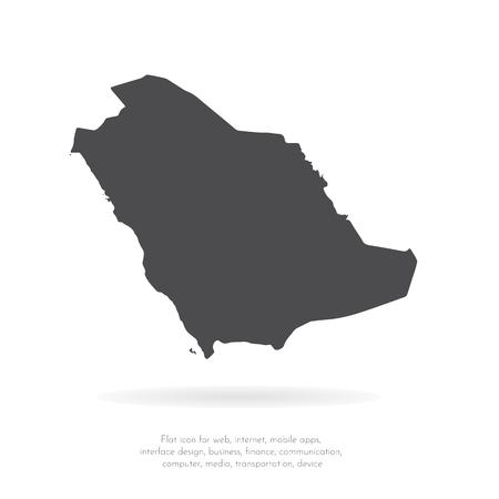 Carte vectorielle Arabie saoudite. Illustration vectorielle isolé. Noir sur fond blanc. Illustration EPS 10.