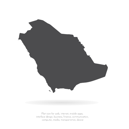Vector map Saudi Arabia. Isolated vector Illustration. Black on White background. EPS 10 Illustration.