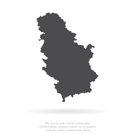 Vector map Serbia. Isolated vector Illustration. Black on White background. EPS 10 Illustration.